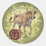 Year of the Ox Chinese Zodiac Art Round Sticker