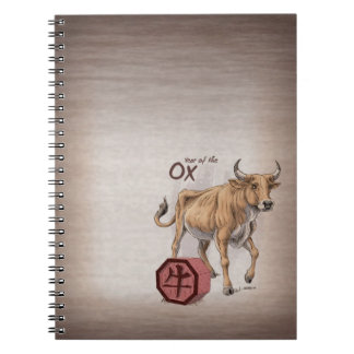 Year of the Ox Chinese Zodiac Art Spiral Notebook