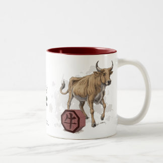 Year of the Ox Chinese Zodiac Art Two-Tone Coffee Mug