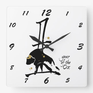 Year of the Ox - Chinese Zodiac Square Wall Clock
