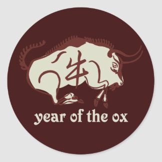 year of the ox classic round sticker