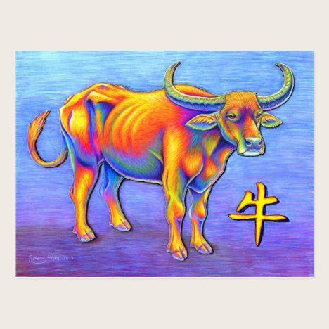 Year of the Ox Psychedelic Rainbow Postcard
