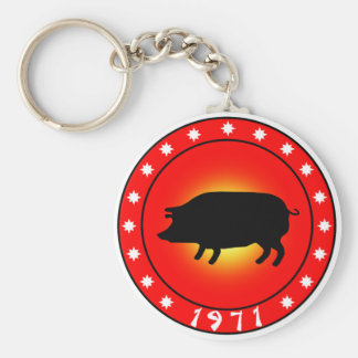 Year of the Pig  1971 Basic Round Button Keychain