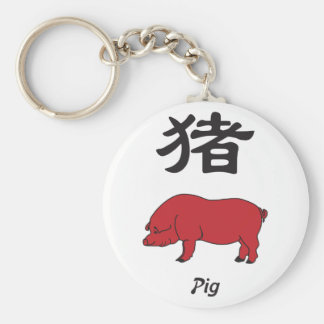 Year of the Pig Basic Round Button Keychain