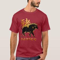 Year Of The Pig-Black Boar Symbol T-Shirt