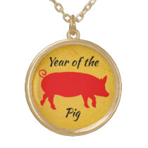 Year of the Pig Gold Plated Necklace