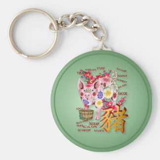 Year Of The Pig In Flowers Keychain