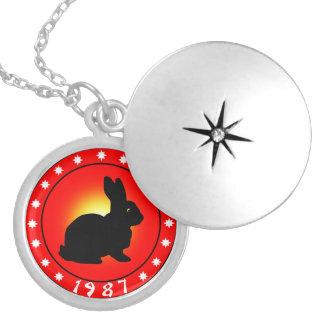 Year of the Rabbit 1987 Round Locket Necklace