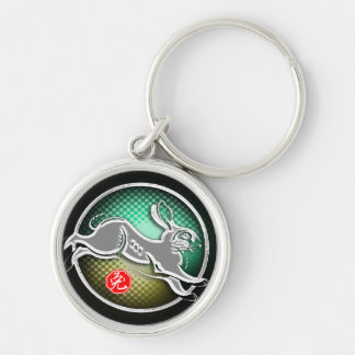year of the rabbit 2011 Silver-Colored round keychain