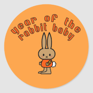 Year of the Rabbit Baby Custom Gifts Round Stickers