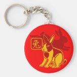 Year of the rabbit basic round button keychain