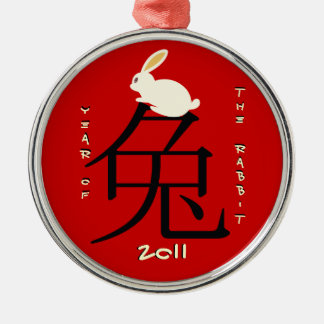 Year of the rabbit Chinese New Year 2011 Round Metal Christmas Ornament