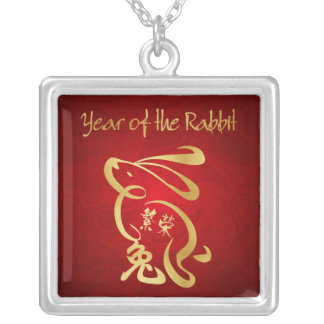 Year of the Rabbit - Chinese New Year Square Pendant Necklace