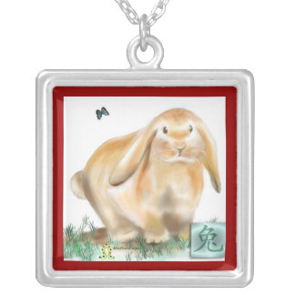 Year of the Rabbit-Chinese New Year Square Pendant Necklace