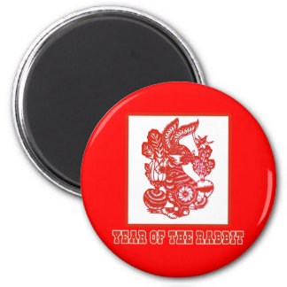 Year of the Rabbit Chinese Paper Cut Art 2 Inch Round Magnet