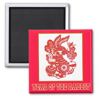 Year of the Rabbit Chinese Paper Cut Art 2 Inch Square Magnet