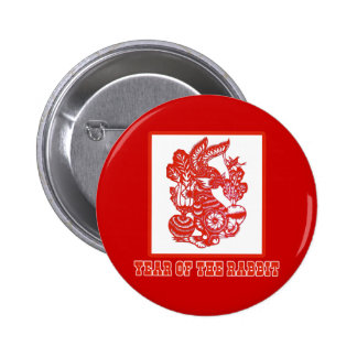 Year of the Rabbit Chinese Paper Cut Art Button