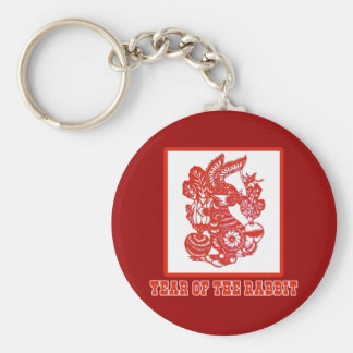 Year of the Rabbit Chinese Paper Cut Art Keychain