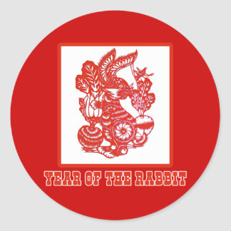 Year of the Rabbit Chinese Paper Cut Art Round Stickers