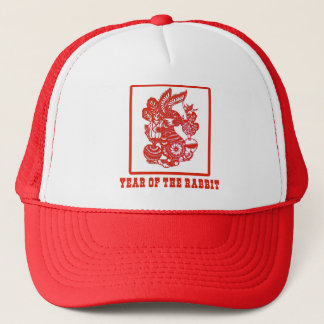 Year of the Rabbit Chinese Paper Cut Art Trucker Hat