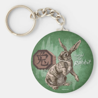 Year of the Rabbit Chinese Zodiac Art Basic Round Button Keychain