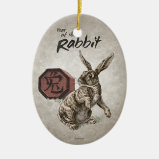 Year of the Rabbit Chinese Zodiac Art Double-Sided Oval Ceramic Christmas Ornament