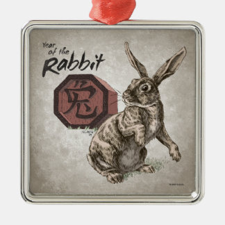 Year of the Rabbit Chinese Zodiac Art Square Metal Christmas Ornament