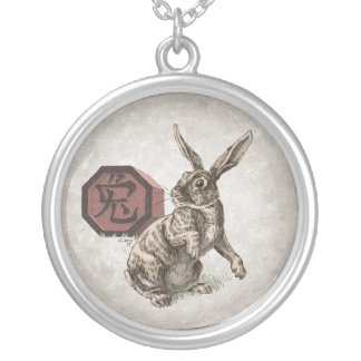 Year of the Rabbit Chinese Zodiac Art Silver Plated Necklace