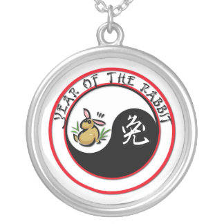 Year of the Rabbit Circle Round Pendant Necklace