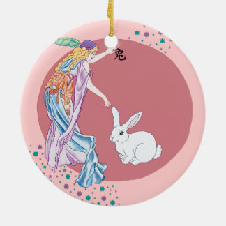 Year of the Rabbit Double-Sided Ceramic Round Christmas Ornament