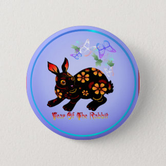 Year Of The Rabbit In Black-Button Pinback Button