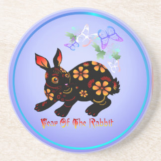 Year Of The Rabbit In Black-Coaster Coaster
