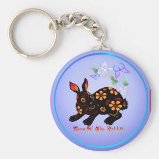 Year Of The Rabbit In Black-Keychains Basic Round Button Keychain