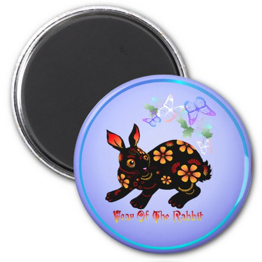Year Of The Rabbit In Black-Magnets Magnet