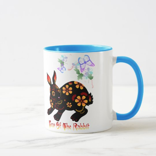 Year Of The Rabbit in Black Mugs
