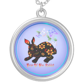 Year Of The Rabbit In Black-Necklace Round Pendant Necklace