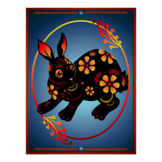 Year Of The Rabbit in Black Oval Poster