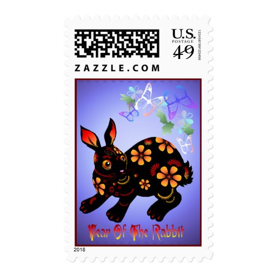 Year Of The Rabbit in Black Postage