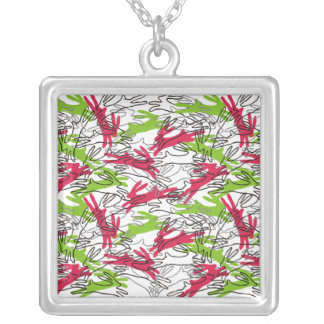 Year of the Rabbit in Cherry & Lime Square Pendant Necklace