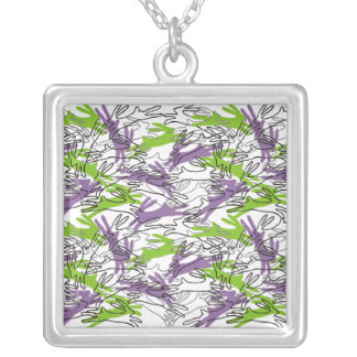 Year of the Rabbit in Grape & Lime Square Pendant Necklace