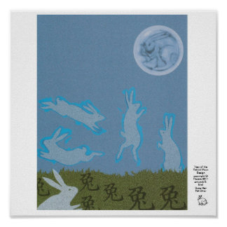 Year of the Rabbit Moon Design Poster