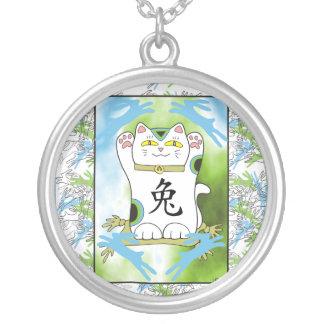 Year of the Rabbit Neko in Blueberry Round Pendant Necklace