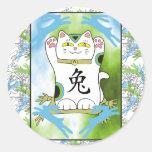 Year of the Rabbit Neko in Blueberry Classic Round Sticker