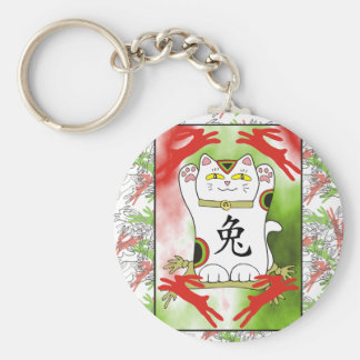 Year of the Rabbit Neko in Cherry Red Keychain