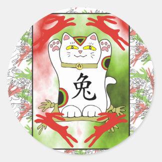 Year of the Rabbit Neko in Cherry Red Classic Round Sticker