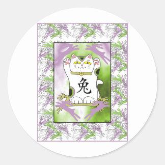 Year of the Rabbit Neko in Grape Classic Round Sticker