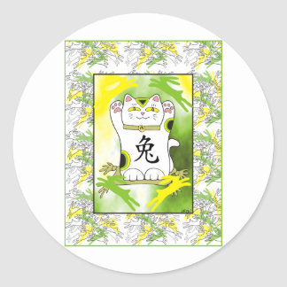 Year of the Rabbit Neko in Lemon Lime Classic Round Sticker