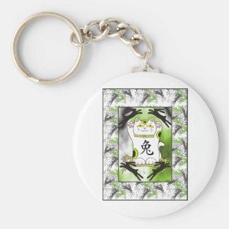 Year of the Rabbit Neko in Licorice Black Basic Round Button Keychain