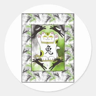 Year of the Rabbit Neko in Licorice Black Classic Round Sticker