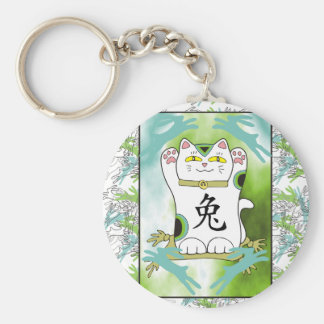 Year of the Rabbit Neko in Oasis Pool Blue Keychain